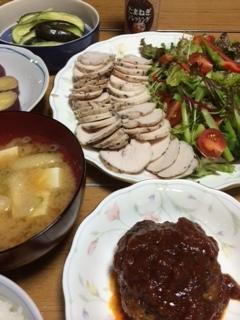 チキンハムの夜ご飯.JPG